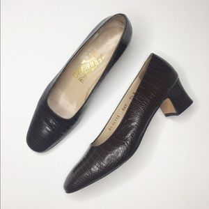 Salvatore Ferragamo | Croc Embossed Pumps 7.5 B